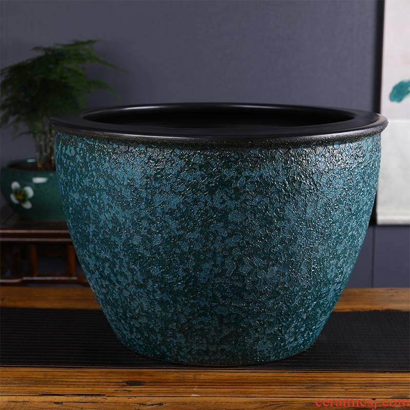 Imitation stone vats basin bowl lotus brocade carp cylinder jingdezhen coarse lotus lotus cylinder tank yard some ceramic porcelain fish tank