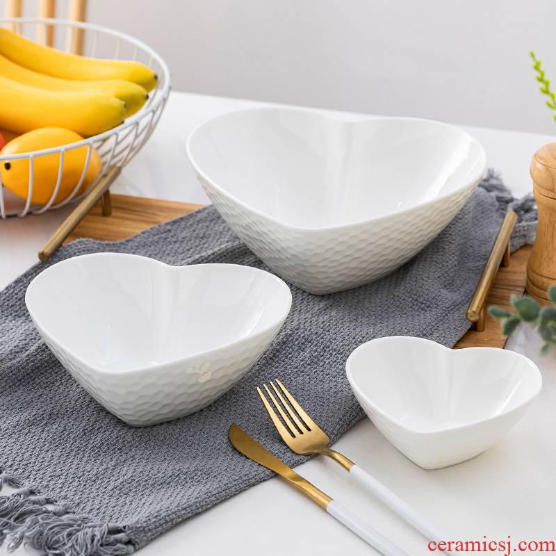 Jingdezhen ceramic tableware bowls of water cube heart - shaped creative household white ceramic web celebrity salad bowl bowl plate