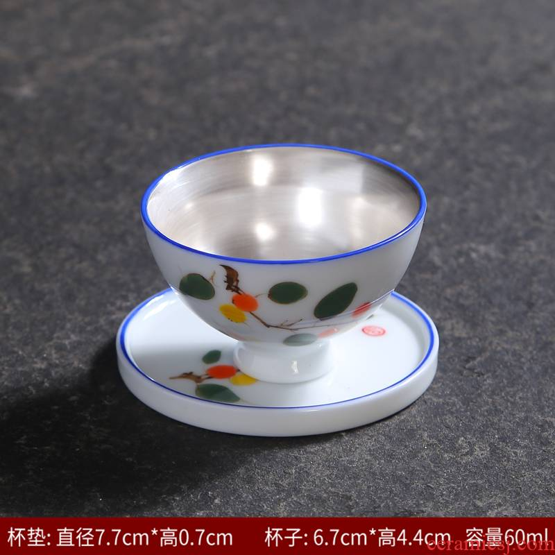 Tasted silver gilding hand - made celadon kung fu tea cup single glass ceramic cups and only the owner of the blue and white porcelain cup single sample tea cup