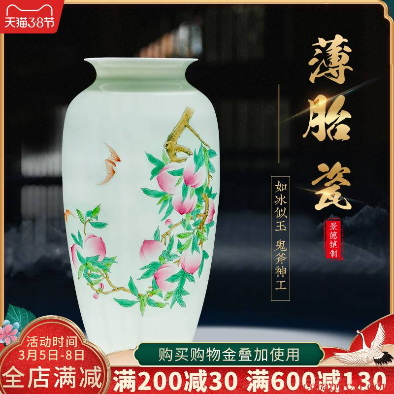 Jingdezhen famous hand - made ceramics thin foetus vase furnishing articles sitting room of Chinese style household flower arranging TV ark, adornment