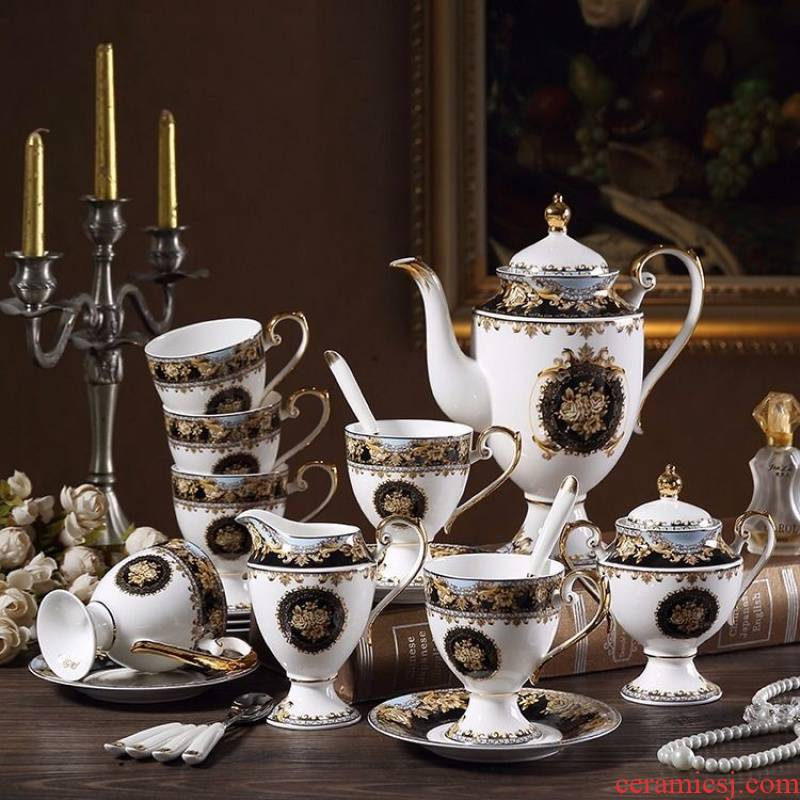 The European court drawn, ceramic coffee set with key-2 luxury afternoon tea tea sets of household ceramic coffee cups and saucers