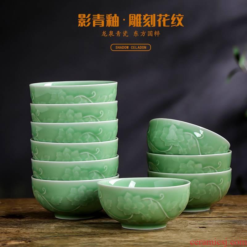 Shadow green ceramics engraving peony bowl of new Chinese style household rice bowls single box set ceramic bowl