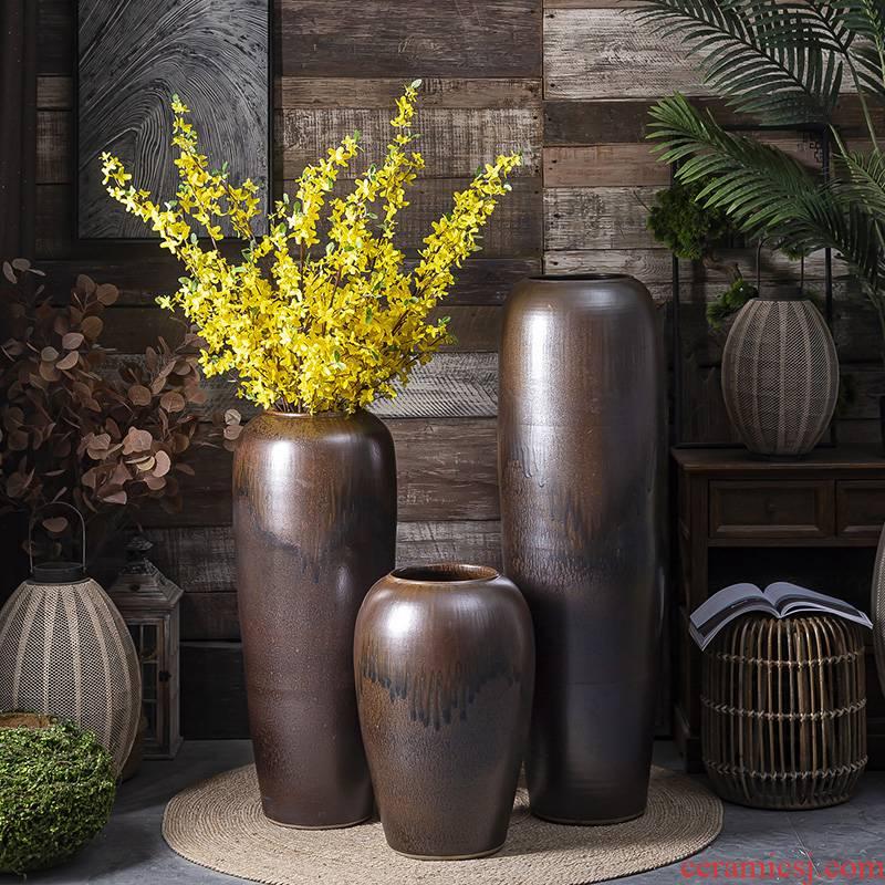 Modern vase landing light dry flower decoration key-2 luxury zen jingdezhen ceramic furnishing articles sitting room large flower arranging flowers