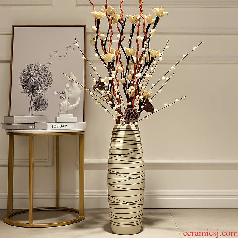 Ground vases, I and contracted sitting room American dry flower arranging flowers furnishing articles European big vase tall ceramic decoration
