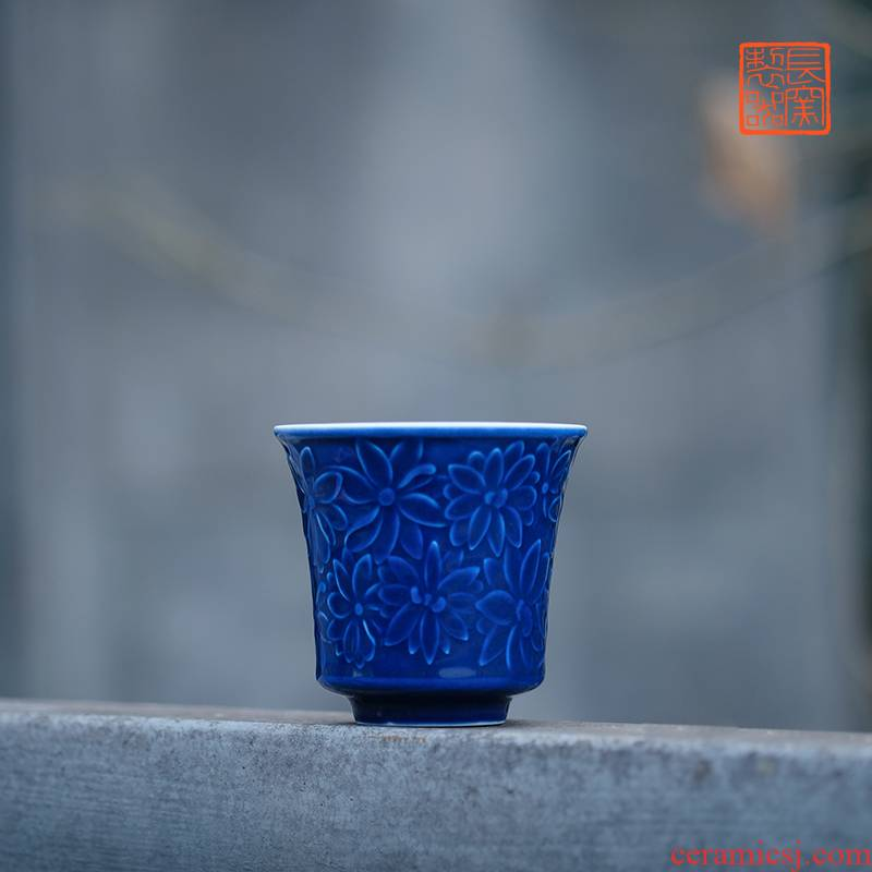 Offered home - cooked ju long up is the blue hand - cut glass jingdezhen manual archaize ceramic tea cups
