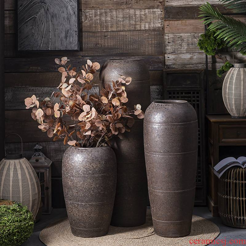 Pure manual jingdezhen ceramic landing big vase furnishing articles furnishing articles restoring ancient ways I and contracted sitting room household flower arrangement