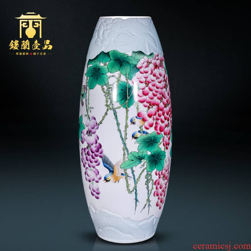 The Master of jingdezhen ceramic all hand - made powder knot with large decorative vase flower arrangement of Chinese style household furnishing articles