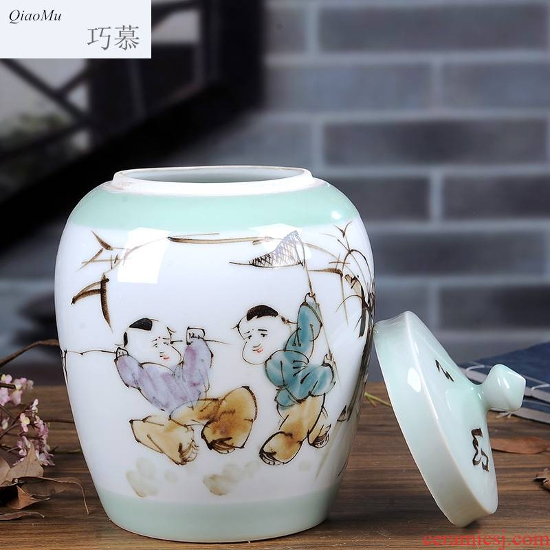 Qiao mu jingdezhen with cover barrel 10 kg of rice jar of large capacity dry storage tank ricer box flour rapeseed oil reservoir