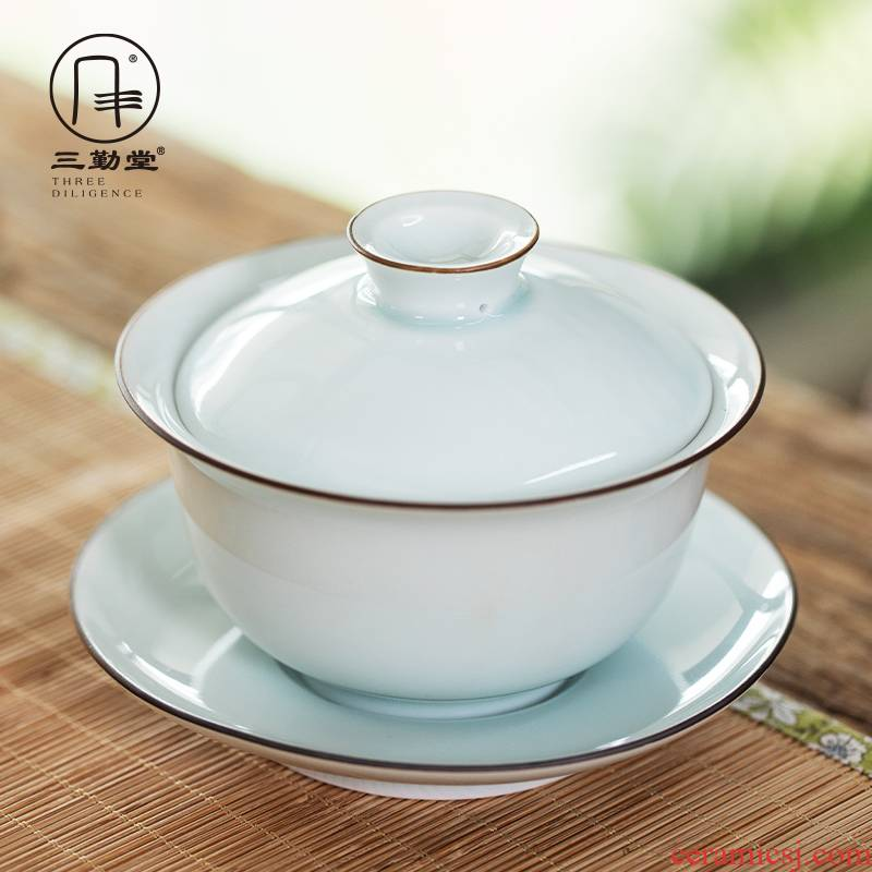 The three frequently shadow green sweet white glaze tureen jingdezhen kung fu tea set three cups to bowl of tea ware bowl S11019