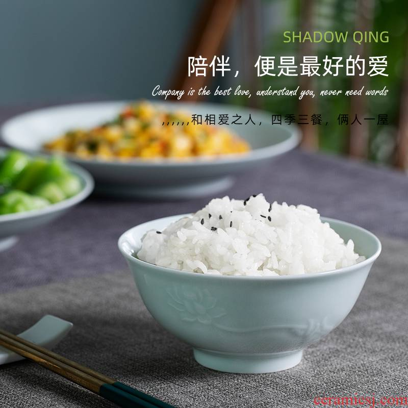 Jingdezhen ceramic tableware suit household group photo green tableware suit home dishes suit