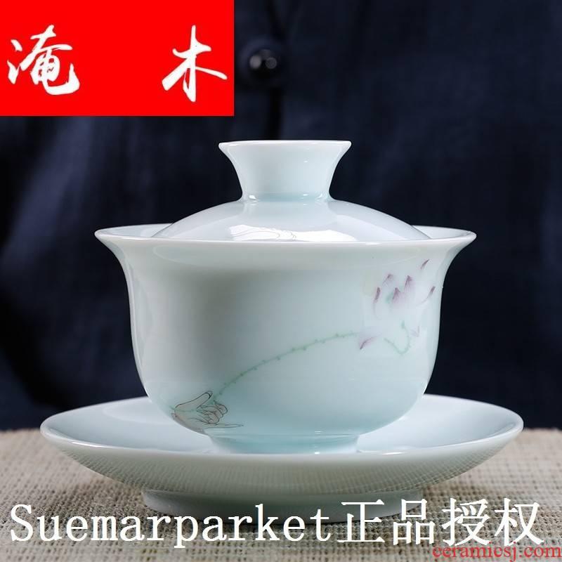 Submerged wood high - grade jade porcelain tureen large cups manual only three bowl of jingdezhen ceramic kung fu tea powder enamel mercifully