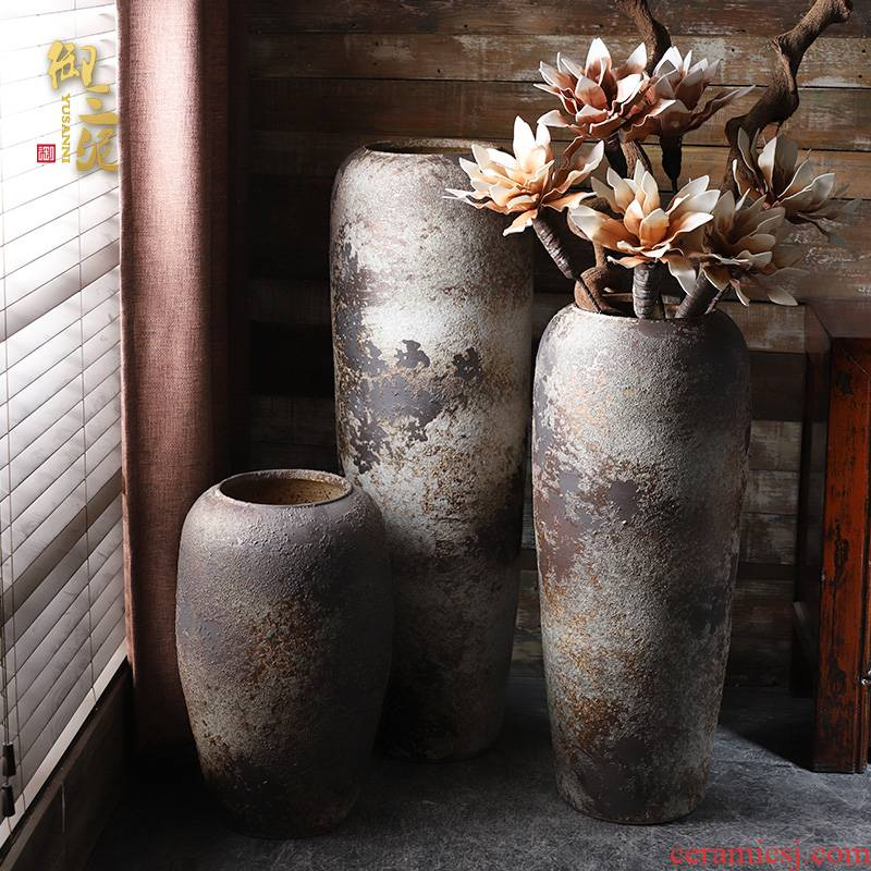 Authentic retro ceramic vases, flower arrangement sitting room place I and contracted large ground flower vase, villa and courtyard