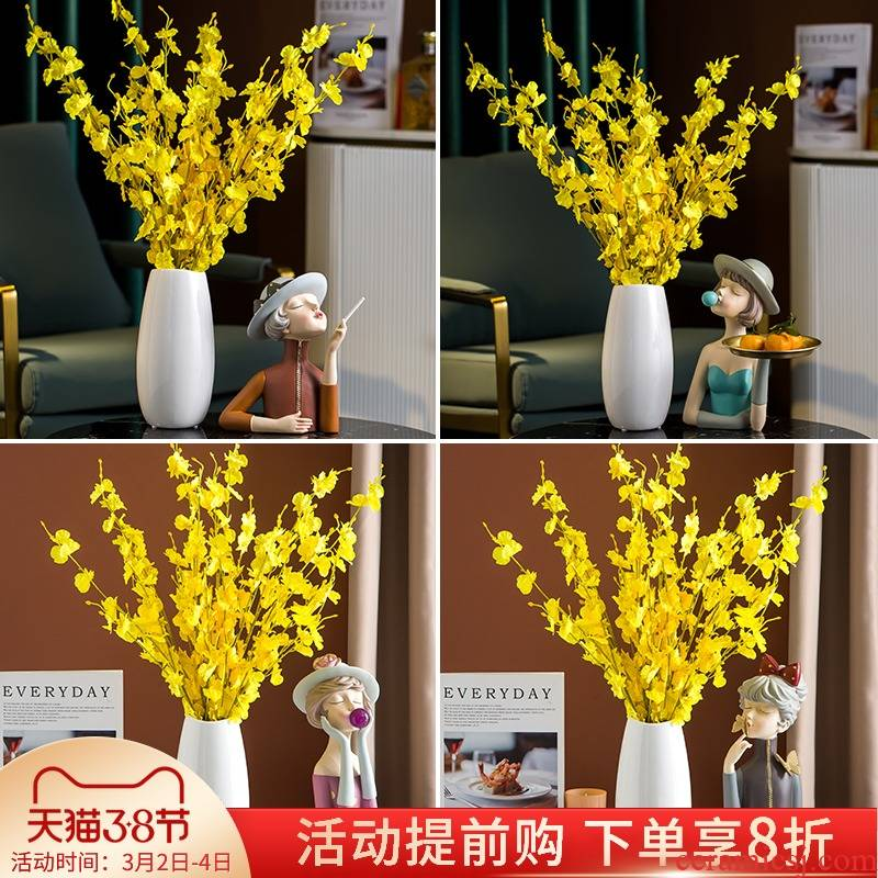 I and contracted white ceramic vases, Nordic dried flower decorations furnishing articles living room TV cabinet table flower decoration