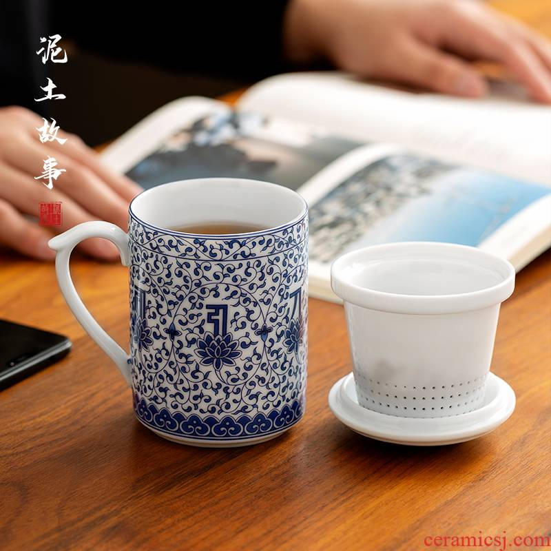 Jingdezhen hand - made porcelain office glass ceramic filter large cups with cover office cup of blue and white and exquisite tea cups