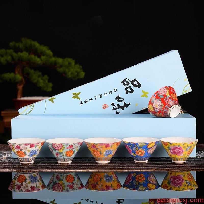 Hui shi gift boxes colored enamel porcelain teacup master cup single cup big sample tea cup tea bowl, kung fu tea set