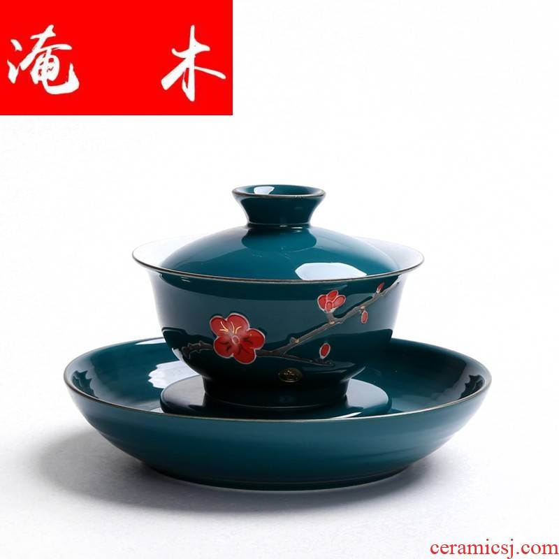 Flooded wood hand - made enamel paint ceramic tureen only three bowl to use hand grasp JingDe tea cup tea bowl