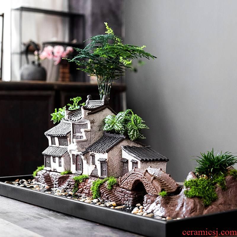 Creative new Chinese zen flowerpot ceramic green plant bonsai aquarium landscape house decorate household office furnishing articles