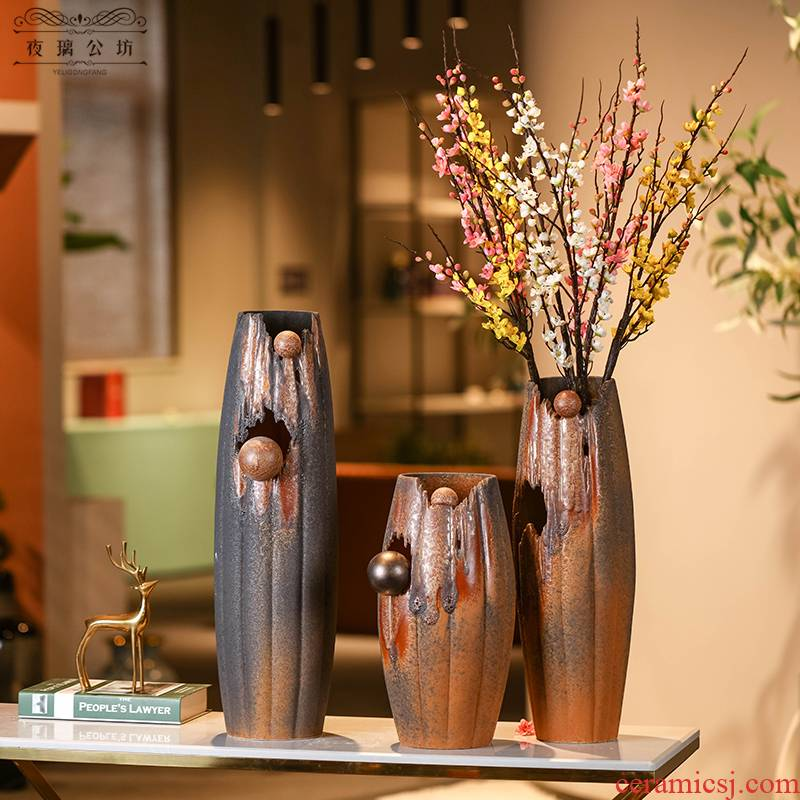 Creative soft adornment ceramics three - piece furnishing articles I and contracted sitting room ground ceramic vase floral arrangements