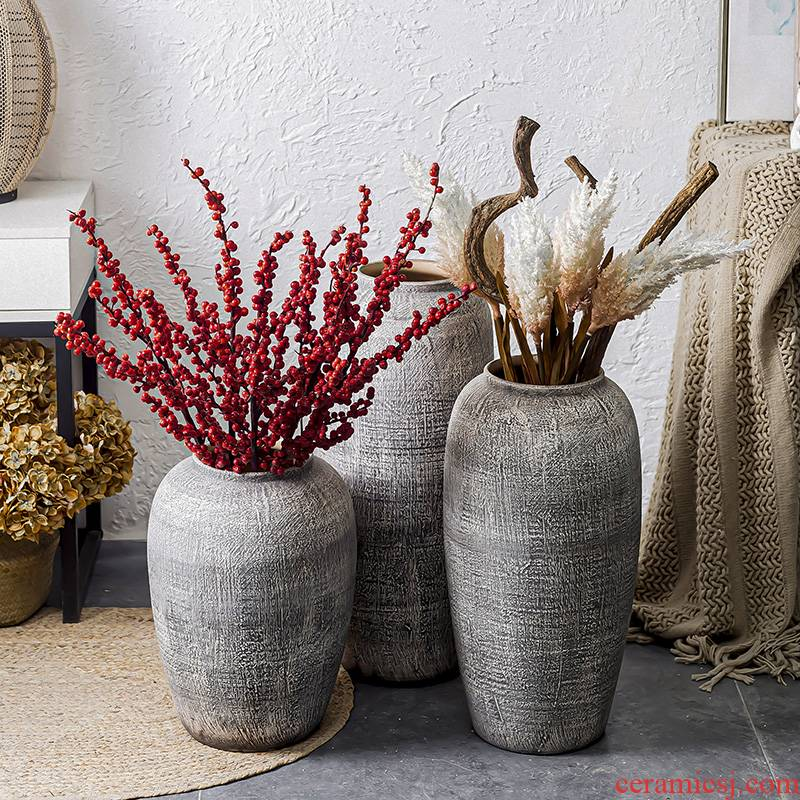 Restoring ancient ways do old POTS of jingdezhen ceramic flower implement the sitting room porch flower arrangement of large vases, coarse pottery combination furnishing articles