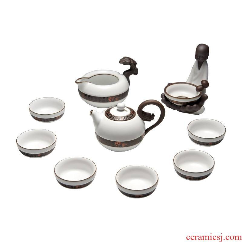 Qiao brother suit for porcelain up open piece of ceramic tea set of a complete set of dragon ball pot of kung fu tea set 10 times