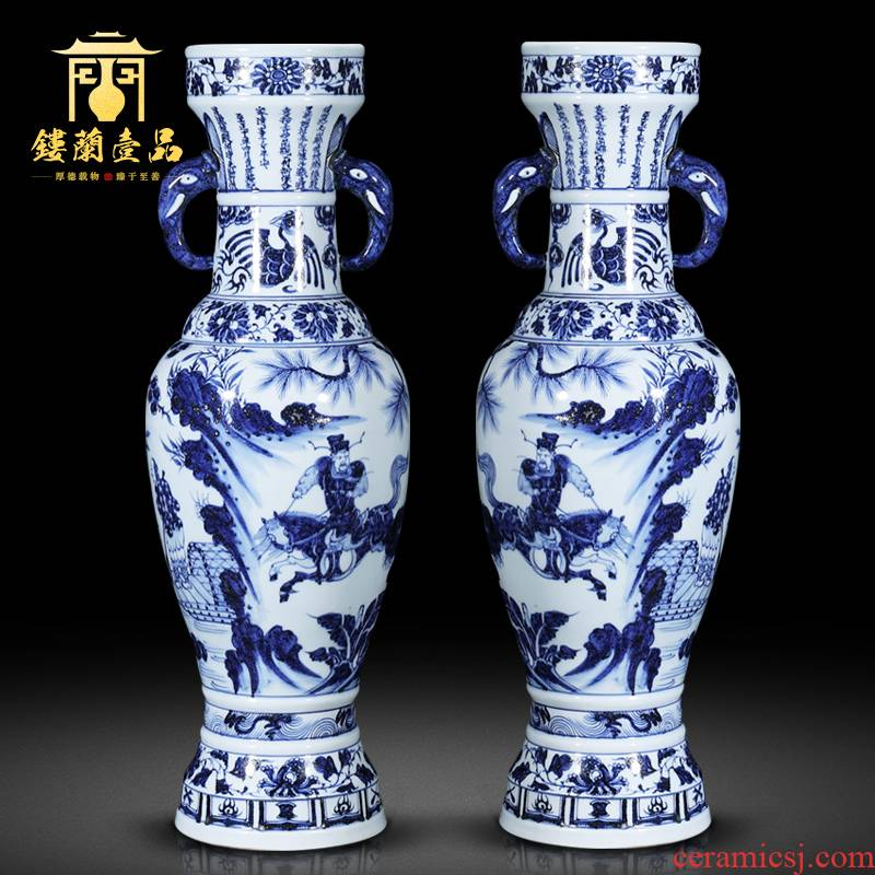 Under the jingdezhen blue and white porcelain yuan Xiao Heyue chase Han Xinxiang ear to bottles of Chinese style household, hotel decoration furnishing articles