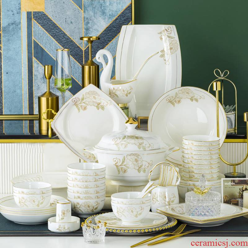 Dishes suit household light key-2 luxury Nordic high - grade ipads China jingdezhen ceramic tableware up phnom penh version into a gift box