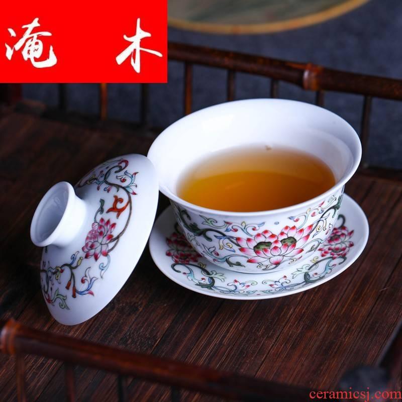Submerged wood jingdezhen porcelain tea tureen only three cup Jin Hongxia checking ceramic tea, hand - made famille rose bowl