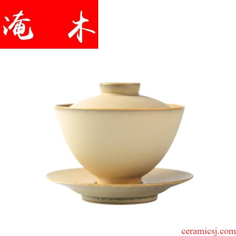 Submerged wood jingdezhen pure manual large capacity 220 ml ceramic bowl three only cover cup of tea