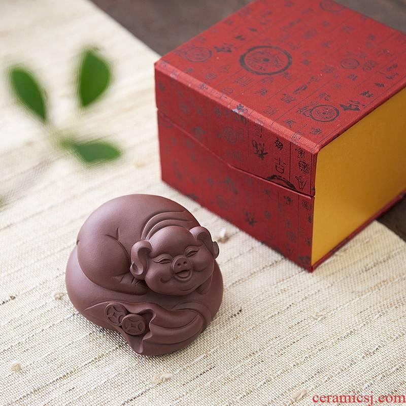 Qiao mu, yixing tea pet furnishing articles famous pet hollow purple purple sand tea money bag blessing pig play tea tea accessories