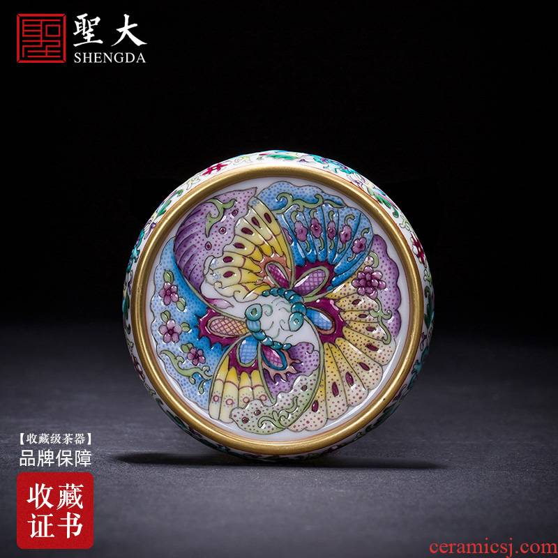 Holy big ceramic cover set all hand colored enamel longnu wear ornaments butterfly tattoo cover jingdezhen kung fu tea accessories