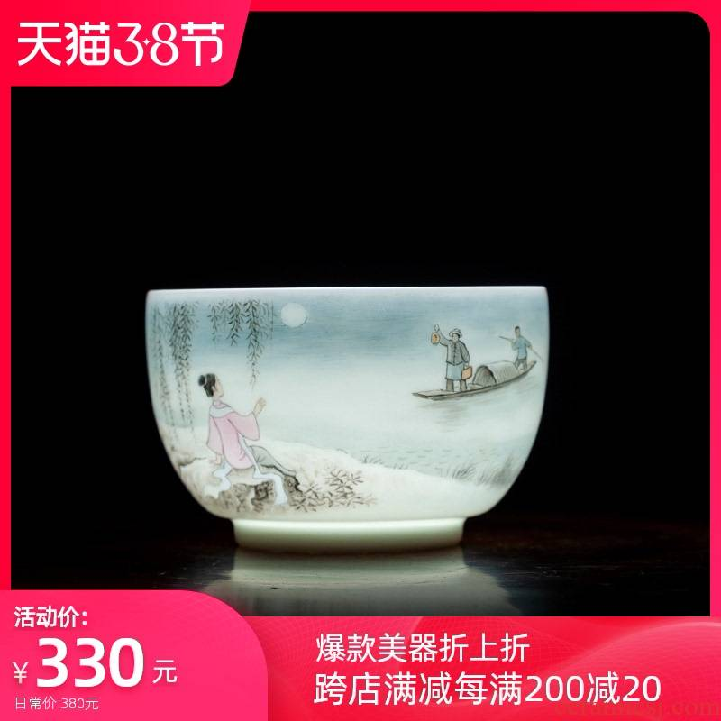 Holy big cup sample tea cup hand - made ceramic kung fu new see colour character master cup all hand jingdezhen tea cup