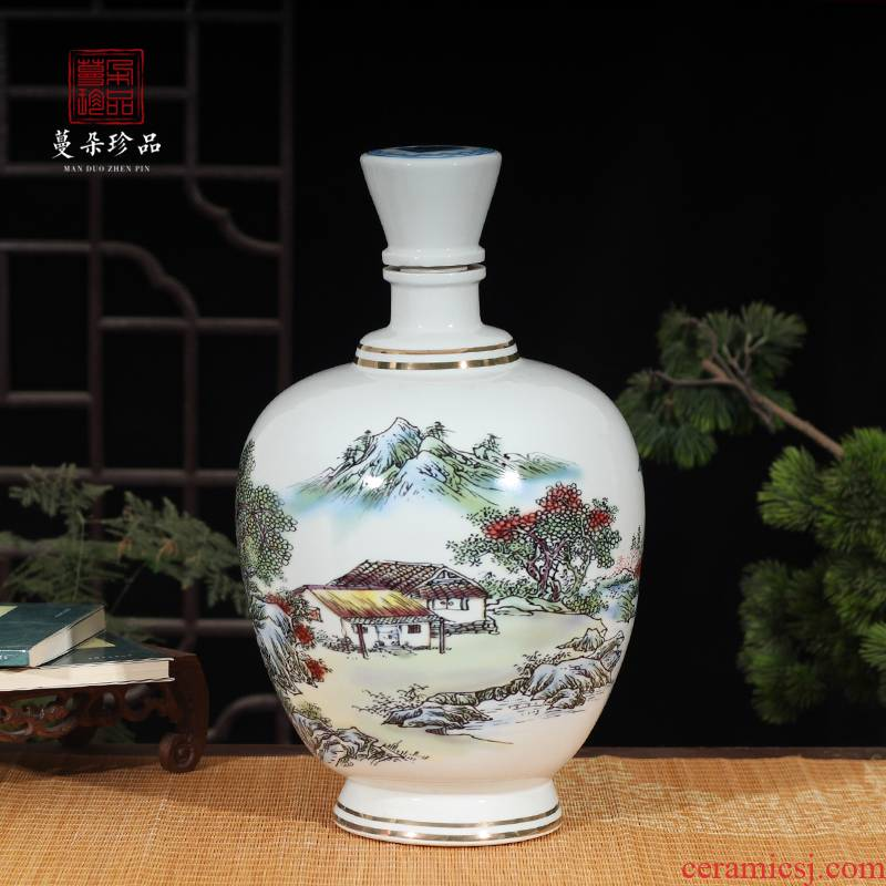 10 jins to blue and white porcelain bottle hand - made porcelain 10 jins to green bottle high - grade liquor bottle