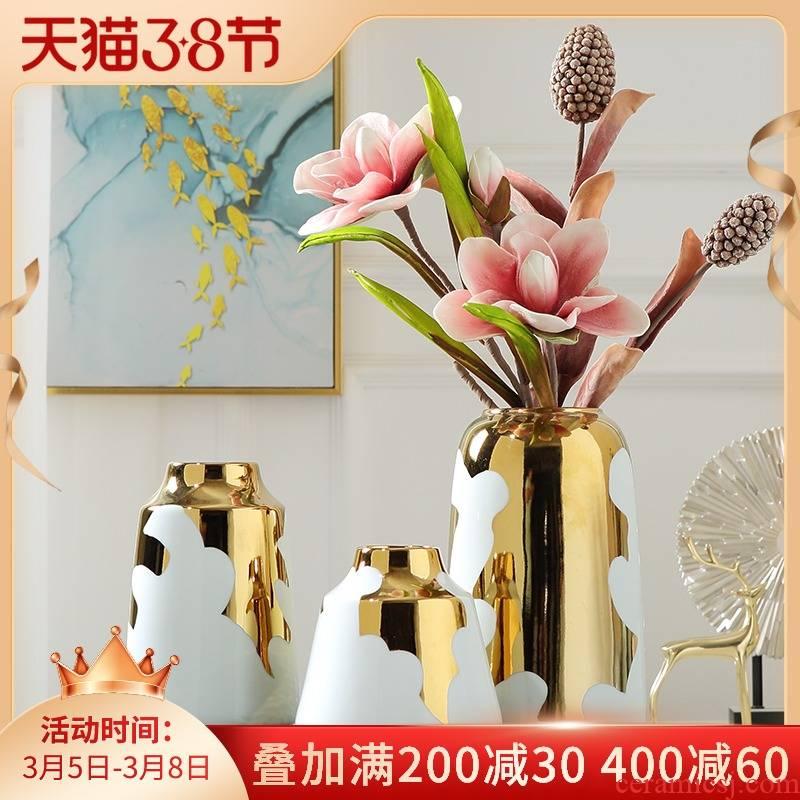 Light key-2 luxury furnishing articles American ceramic vase Nordic Light key-2 luxury living room TV cabinet dried flowers flower arrangement porcelain home decoration