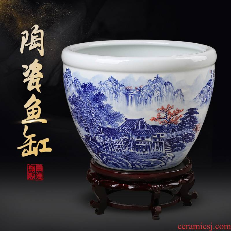 Jingdezhen ceramic aquarium hand - made pastel blue place, a large sitting room aquarium tortoise cylinder water lily lotus basin