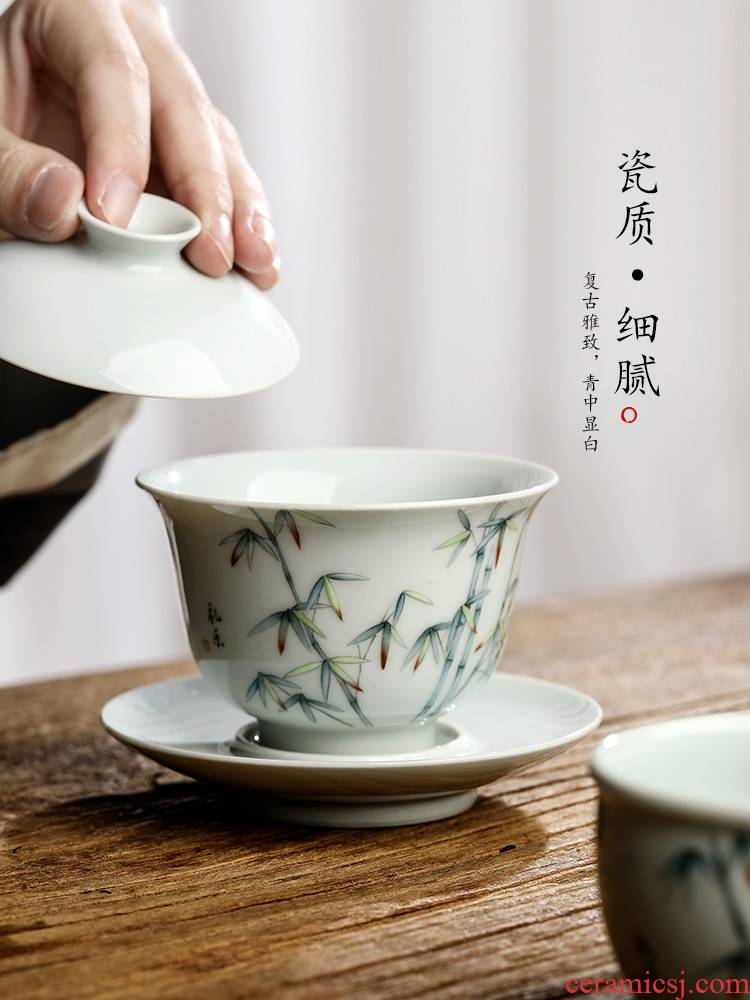 Jingdezhen pure manual three tea tureen Chinese style is not only large bowl with hand - made archaize kung fu tea set