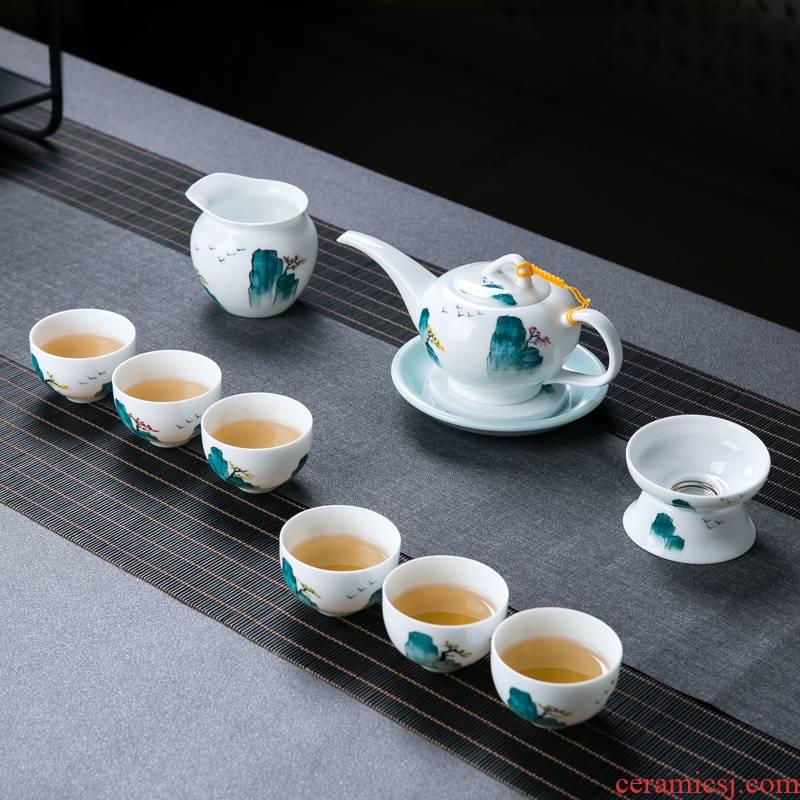 Jingdezhen hand - made ceramic kung fu tea set tea service home sitting room portable small set of Chinese tea cup teapot