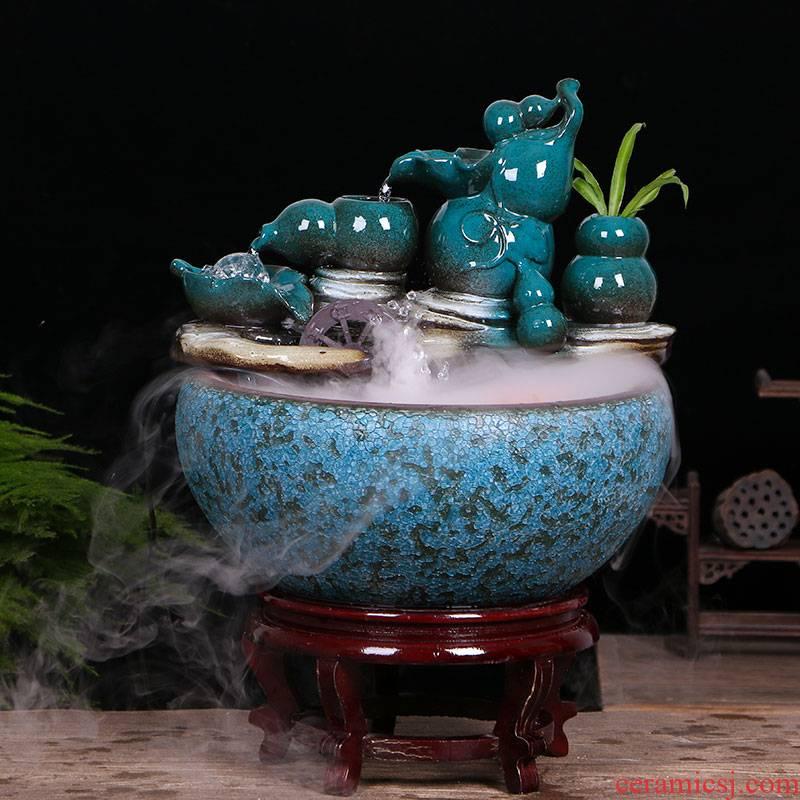 Jingdezhen ceramic aquarium water fountain household little gold fish tank large fish bowl sitting room humidifying decorative landscape