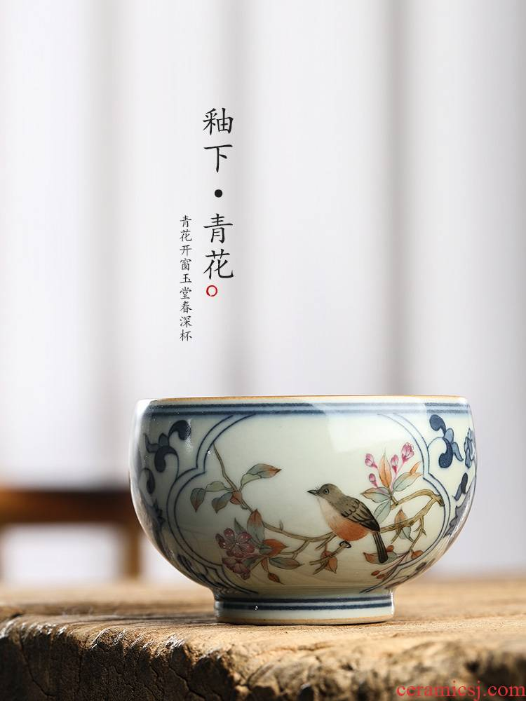 Pure manual jingdezhen blue and white master cup single CPU hand - made painting of flowers and kung fu tea sample tea cup single ceramic tea set