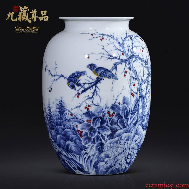Jingdezhen blue and white porcelain ceramics master hand draw Chinese style living room TV ark, flower arranging porch is decorated furnishing articles