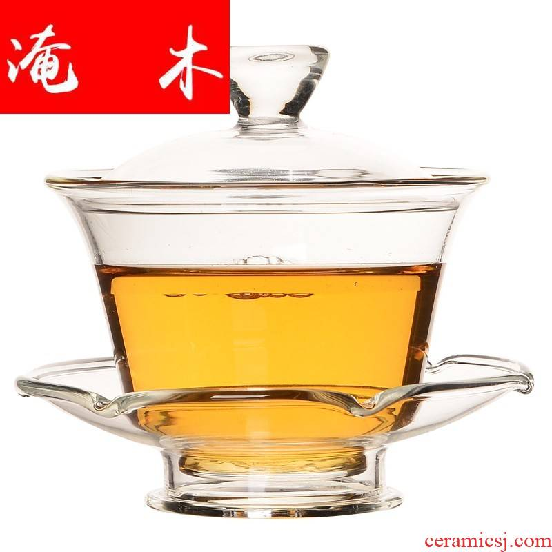 Flooded wood only three glass tureen tea cups suit hand - made tubas catch kung fu new one of blue and white porcelain bowl