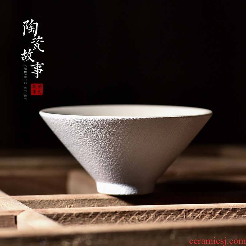 Ceramic story kung fu tea cups personal special masters cup single CPU hat to Japanese tea tea set, Ceramic cups