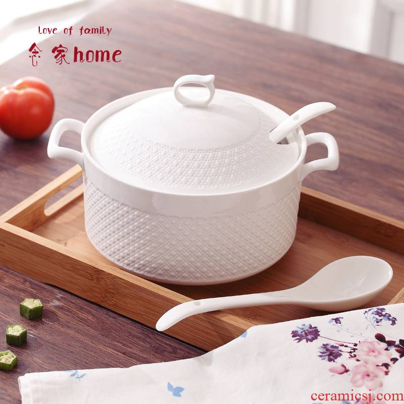 The Send tablespoons of large soup bowl with cover household ceramics microwave tableware Japanese ear soup pot package mail