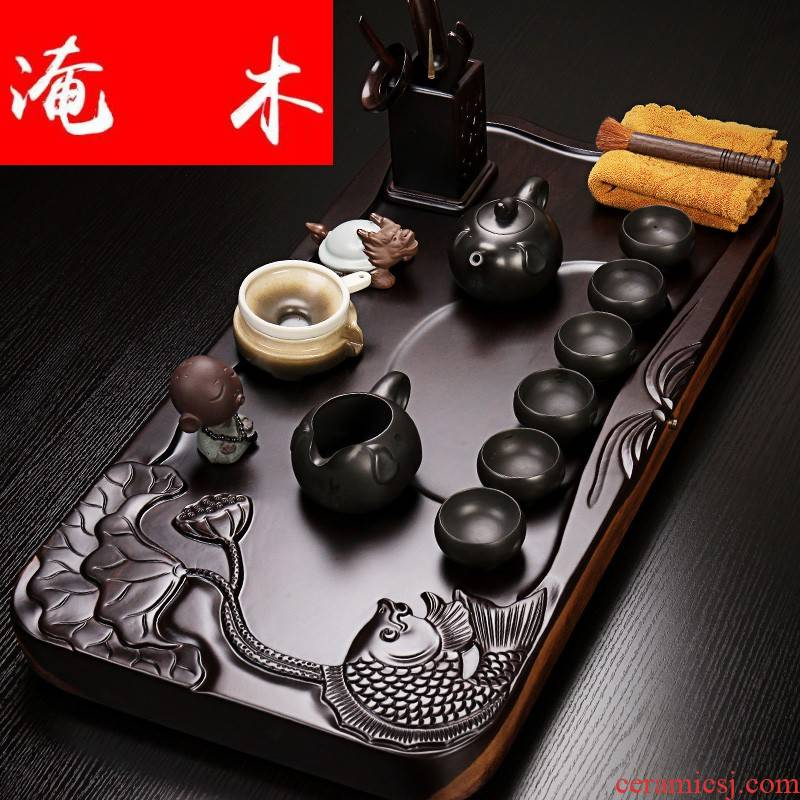 Flooded a whole piece of ebony wood tea tray was violet arenaceous elder brother up kung fu tea set contracted tea tea sea home