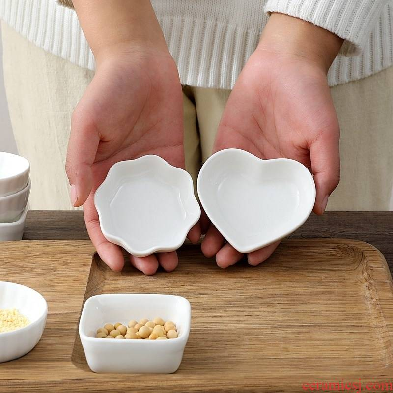 Small bowl restaurant tableware kitchen long heart - shaped plate sauce dish of sauce dish of white porcelain creative oval oil disc