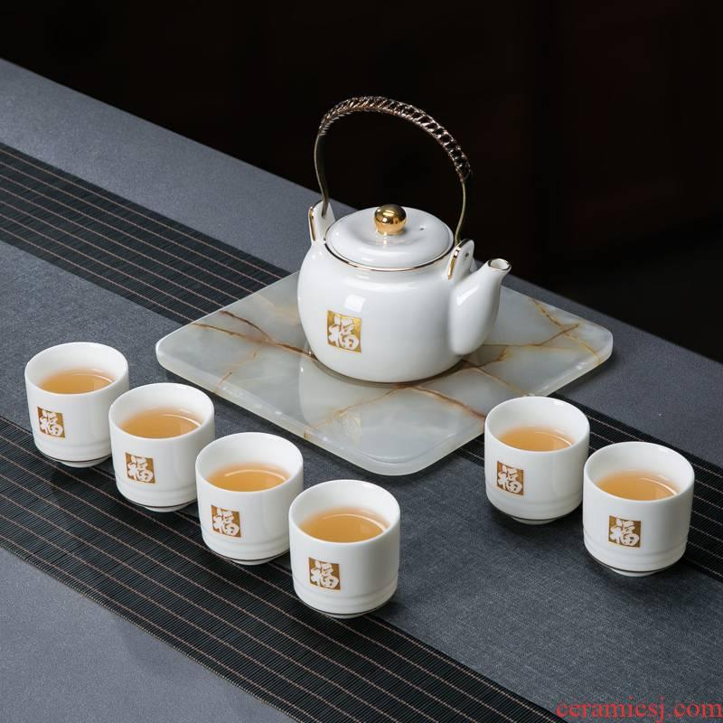 Suet jade carved white porcelain paint was suit home sitting room jingdezhen ceramic cups large teapot