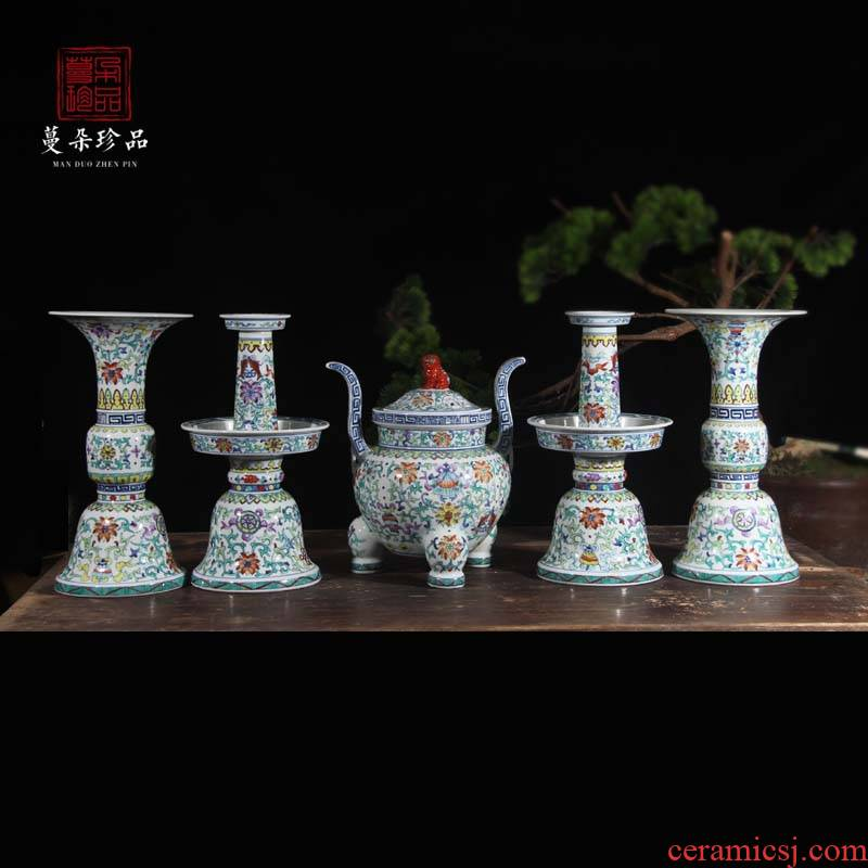 Jingdezhen temple temple for suit tailored to write five vase with candlestick five woolly temple sweet incense buner for device