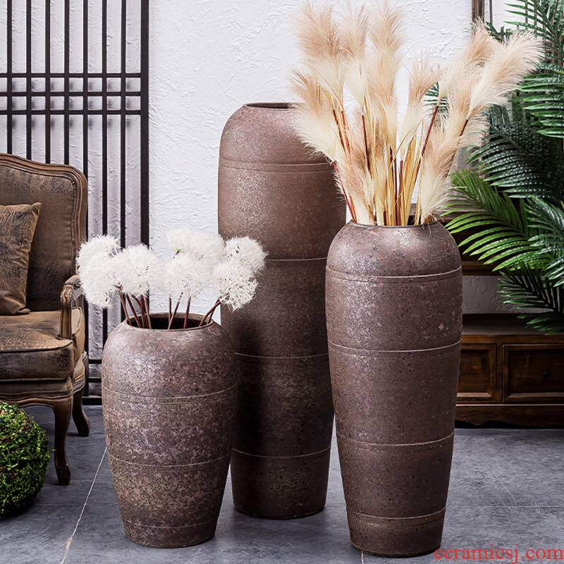 Coarse pottery big POTS dry flower adornment restoring ancient ways furnishing articles sitting room flower arranging jingdezhen ceramic household zen ground vase