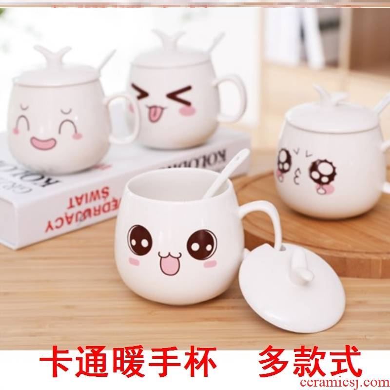 Lovely red coffee tea cup with lid couples are breakfast cup type of heat - resistant glass ceramic drinking water