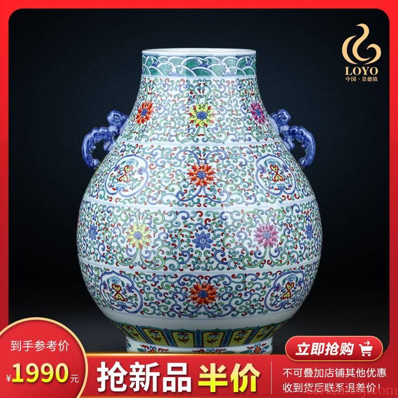 Jingdezhen ceramic f barrels of blue and white buckets color porcelain vase flower arranging large sitting room TV ark, home furnishing articles