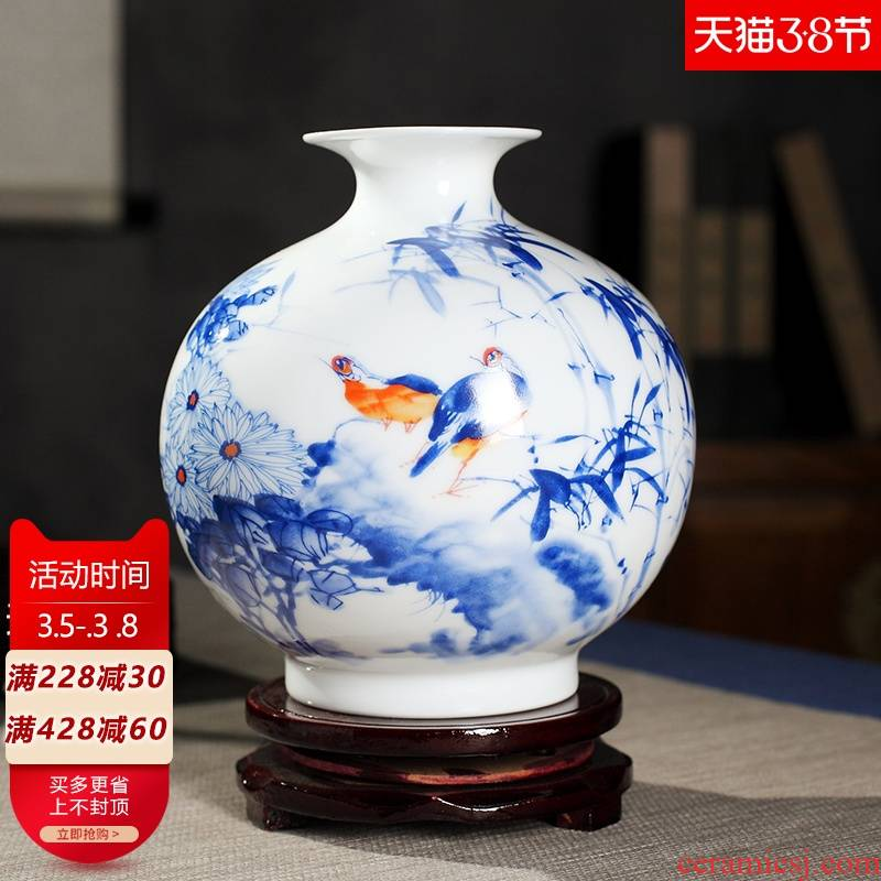 Dried flower adornment creative vase furnishing articles sitting room office small household crafts flower arranging jingdezhen ceramics